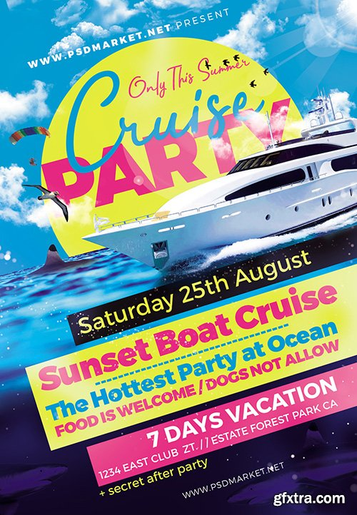 Cruise Party Flyer – PSD Template