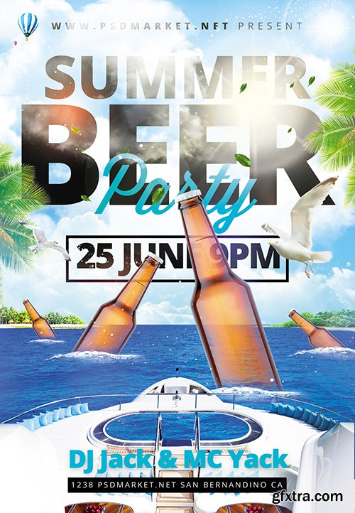 Summer Beer Party Flyer – PSD Template