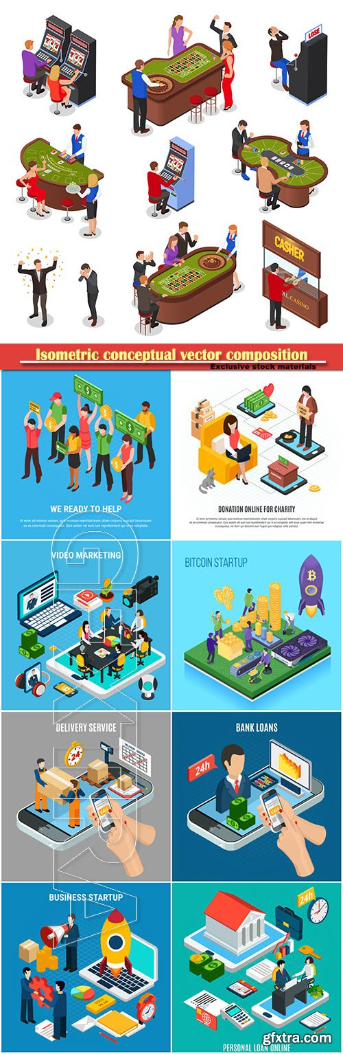 Isometric conceptual vector composition, infographics template, horizontal banners set # 7