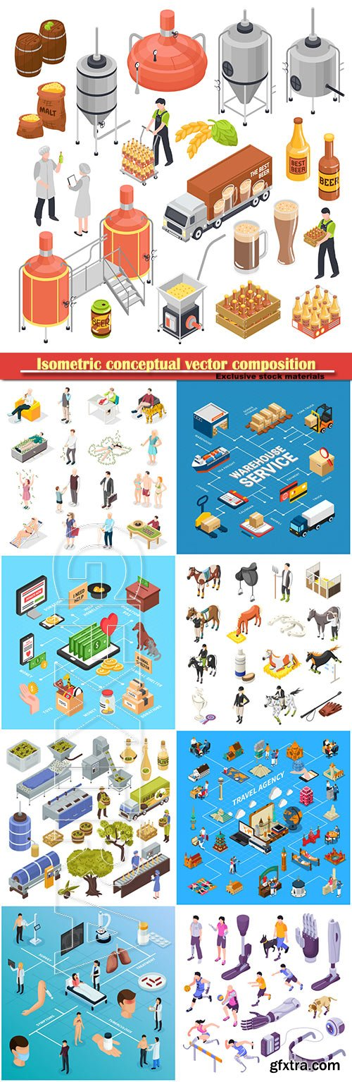 Isometric conceptual vector composition, infographics template, horizontal banners set # 10