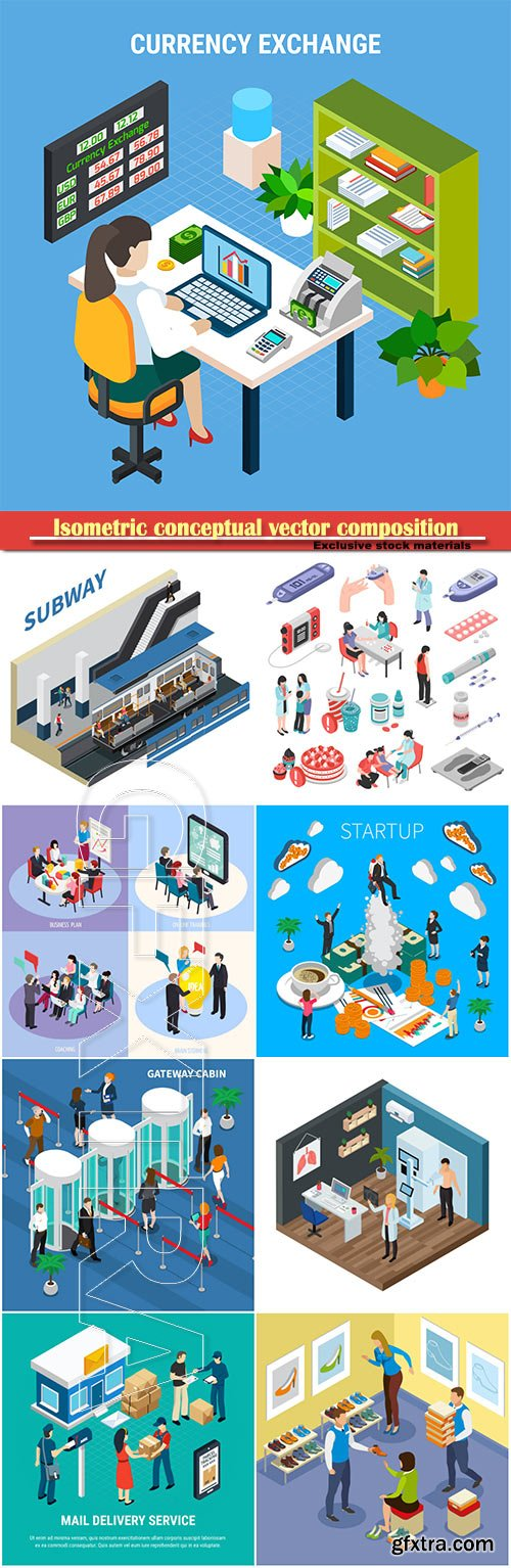 Isometric conceptual vector composition, infographics template, horizontal banners set # 8