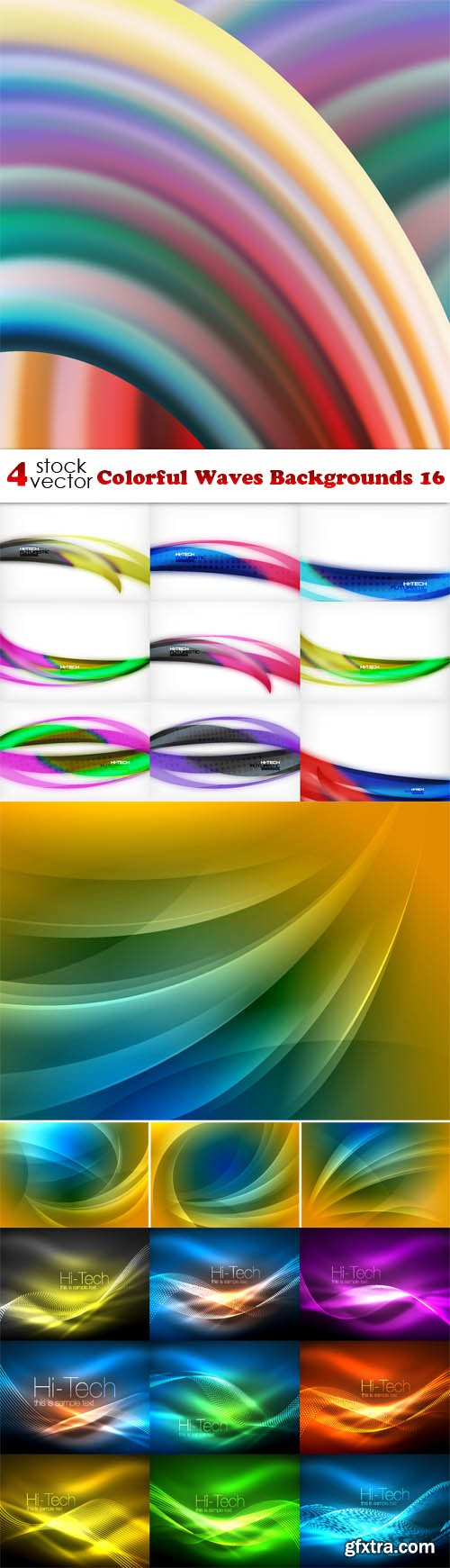 Vectors - Colorful Waves Backgrounds 16