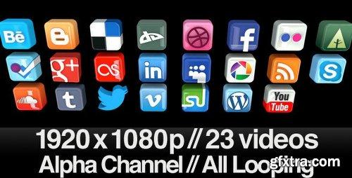 Videohive 23 Videos of 3D Social Media Icons Rotating - Loop 553940
