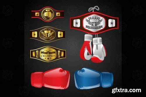 Set of MMA objects - vector realistic clip art