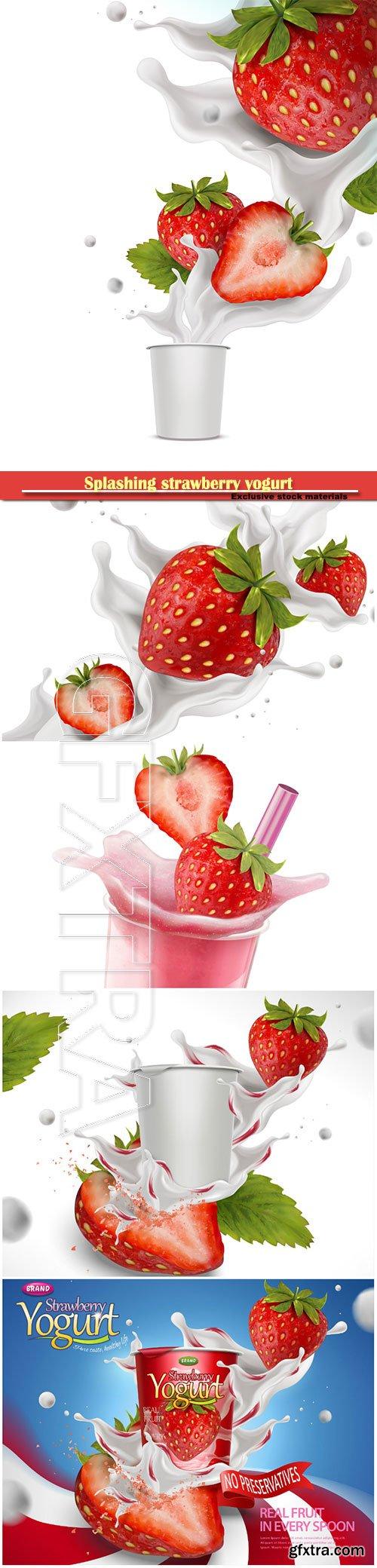 Splashing strawberry yogurt with fresh fruit in 3d illustration
