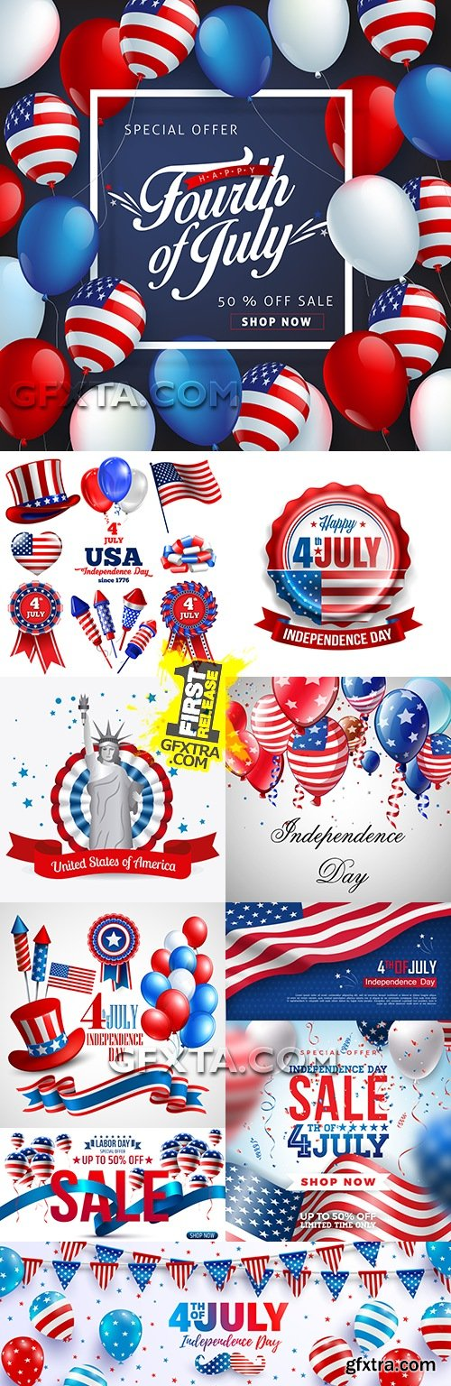 USA American Independence Day design illustration 6