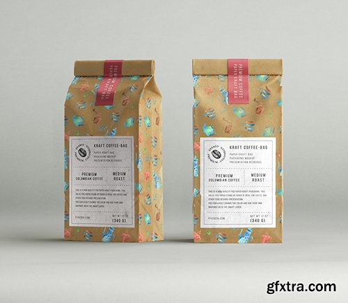 Kraft Coffee Bag Packaging Mockup 2