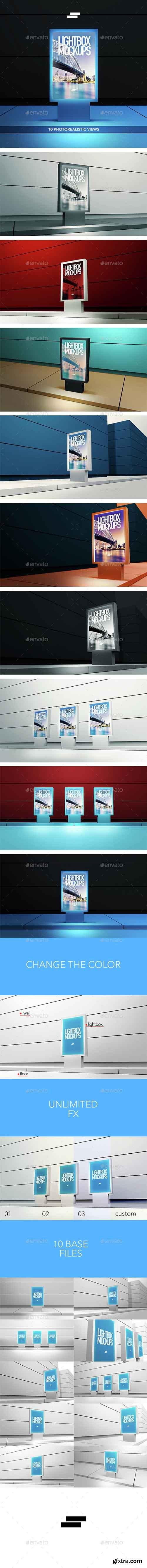 3D Lightbox Poster Outdoor Mock-ups 15128046