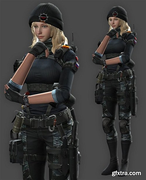 Blonde Armed Woman in Boots 3d Model