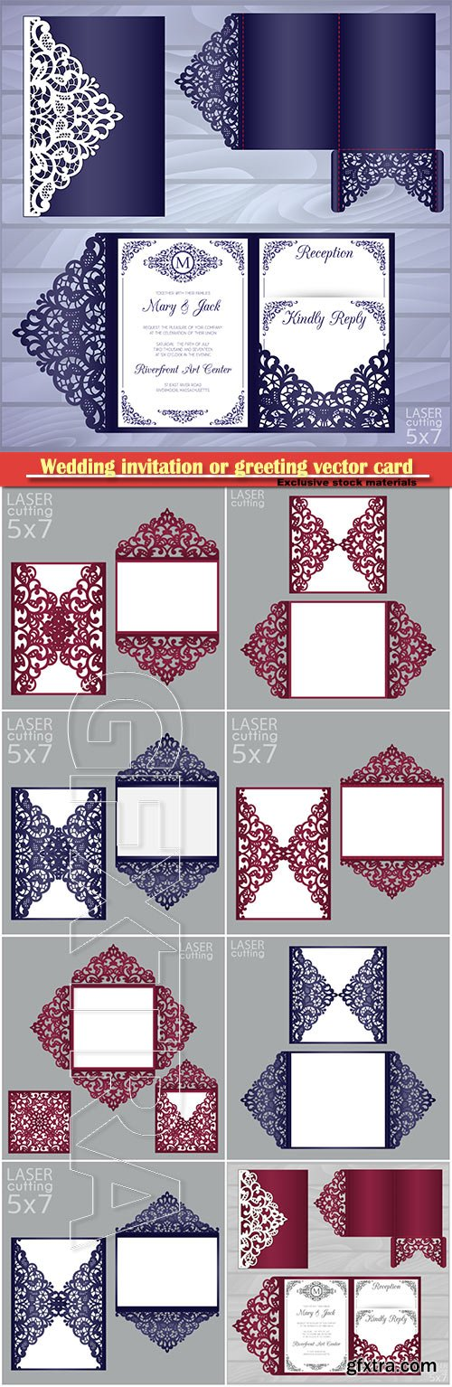 Wedding invitation or greeting vector card with abstract ornament # 5