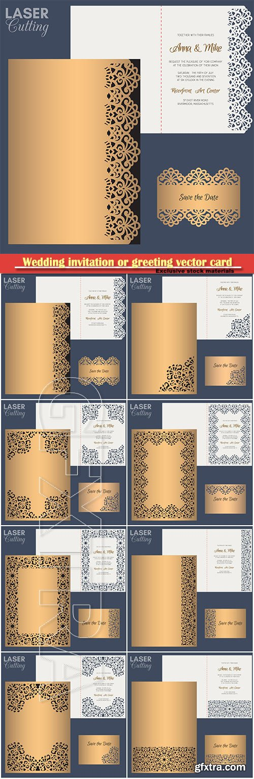 Wedding invitation or greeting vector card with abstract ornament # 4