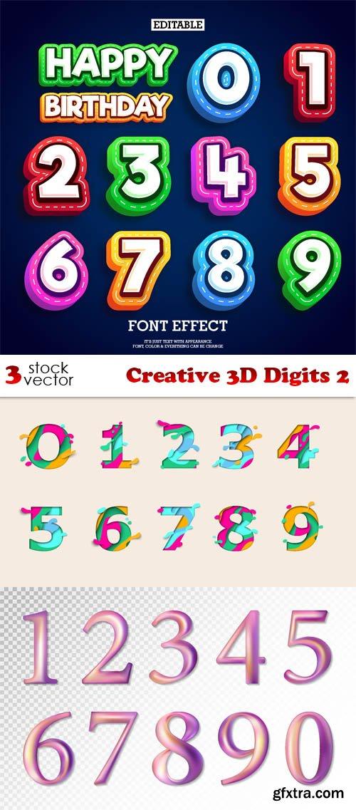 Vectors - Creative 3D Digits 2