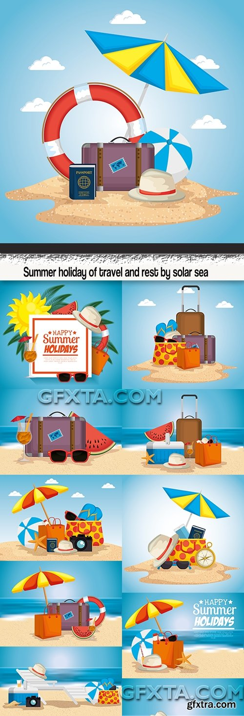 Summer holiday of travel and rest by solar sea