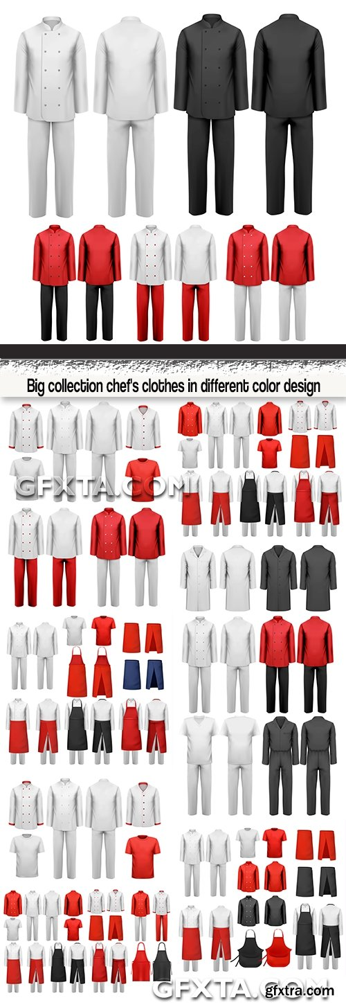Big collection chef\'s clothes in different color design
