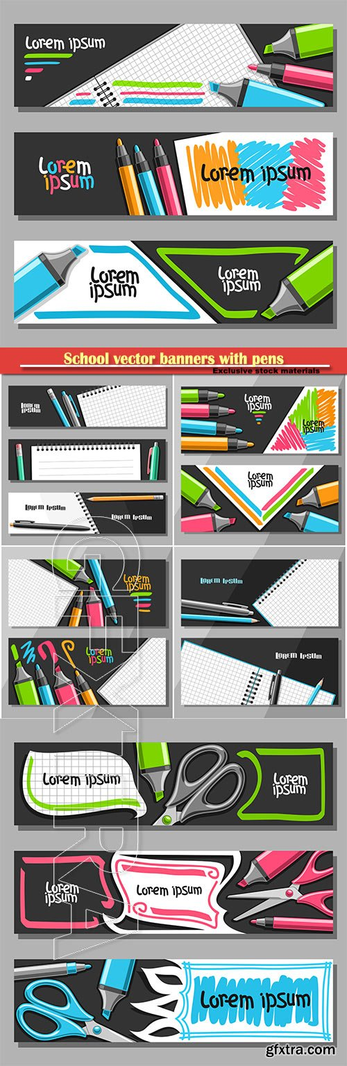 School vector banners with pens, pencils and scissors