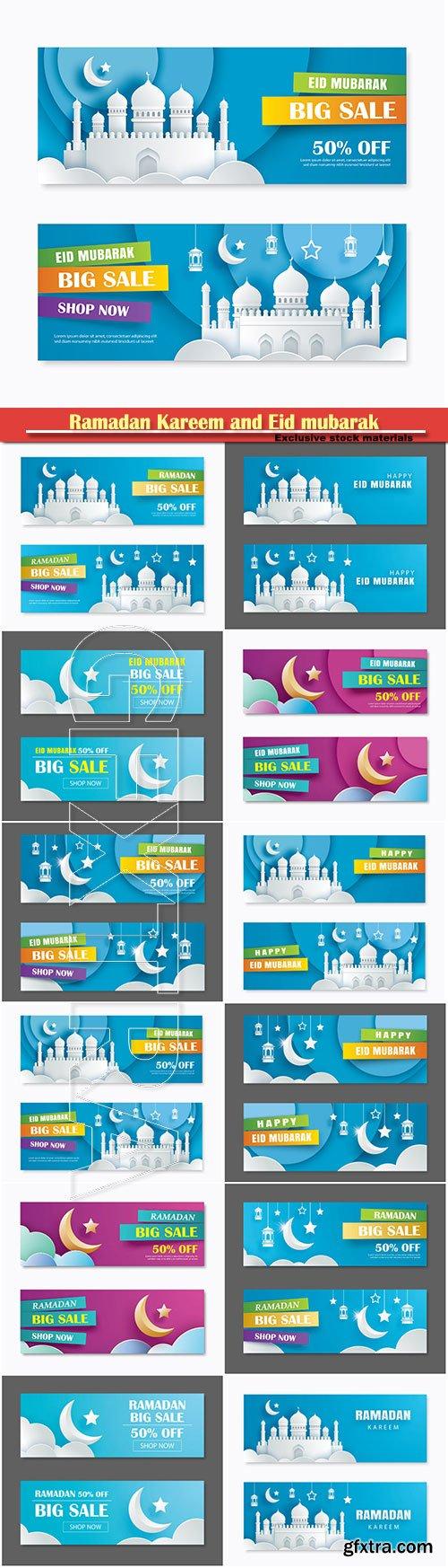 Ramadan Kareem and Eid mubarak sale vector banner design