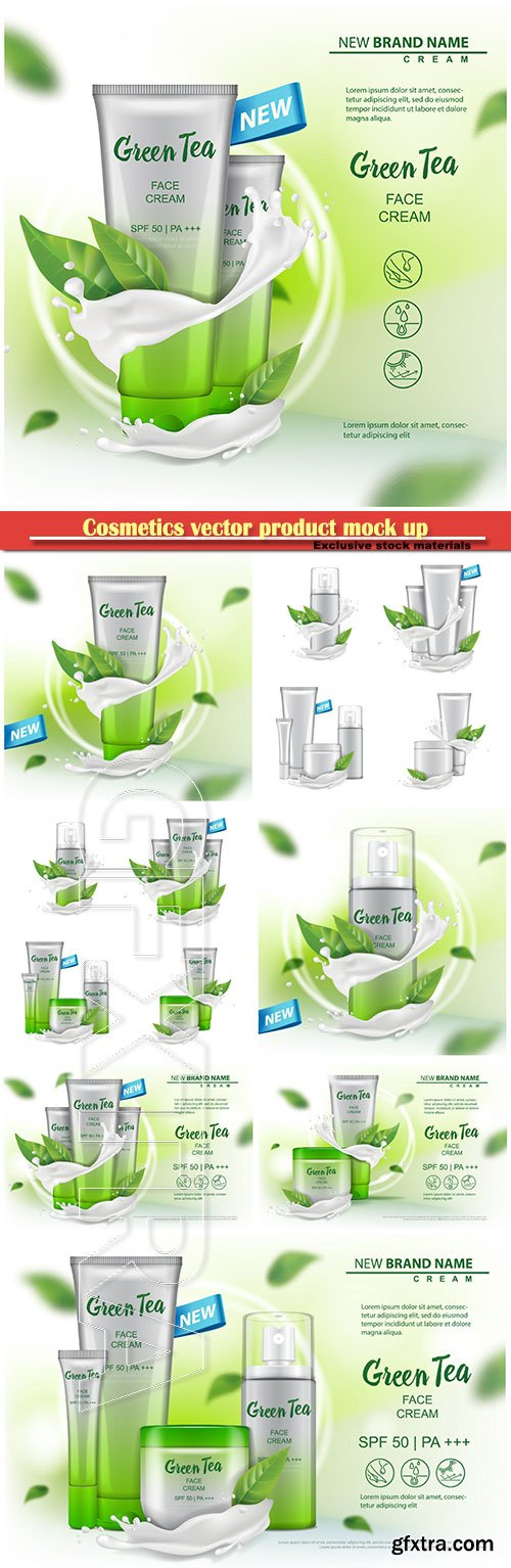 Cosmetics vector product mock up with green tea extract advertising for catalog, magazine, cream, gel, body lotion, spray