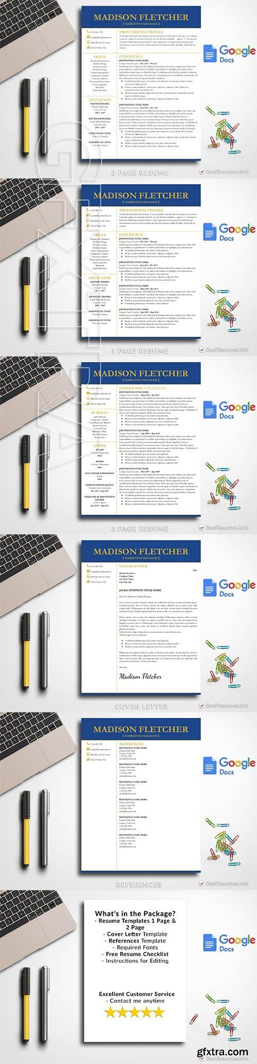 CreativeMarket - Professional Resume Google Docs 2684427