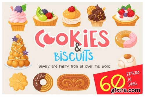 Cookies, cakes and biscuits