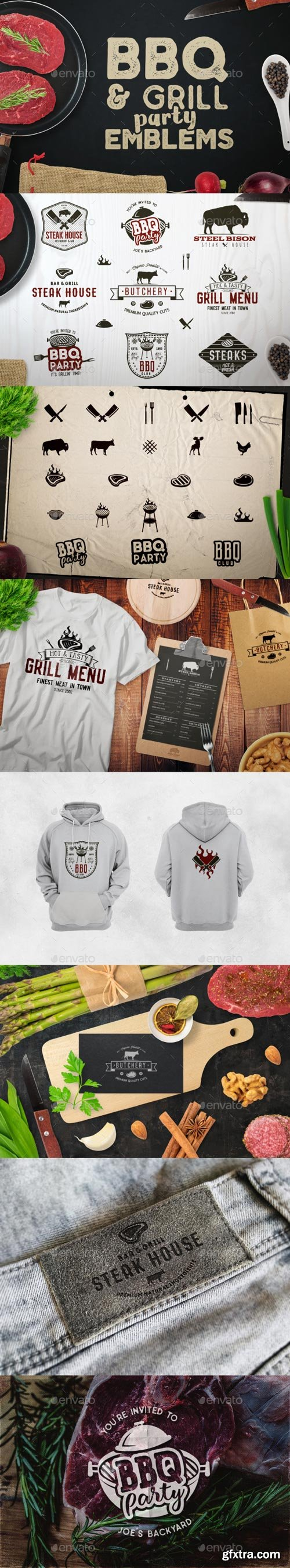 GraphicRiver - BBQ Logos & Grill Emblems Set - 20574610