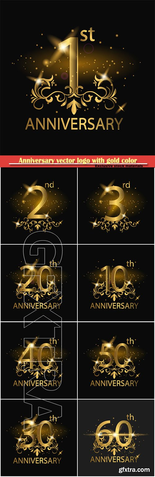 Anniversary vector logo with gold color years anniversary celebration