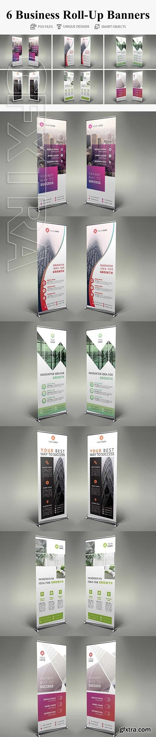 CreativeMarket - 6 Business Roll Up Banners 2708038