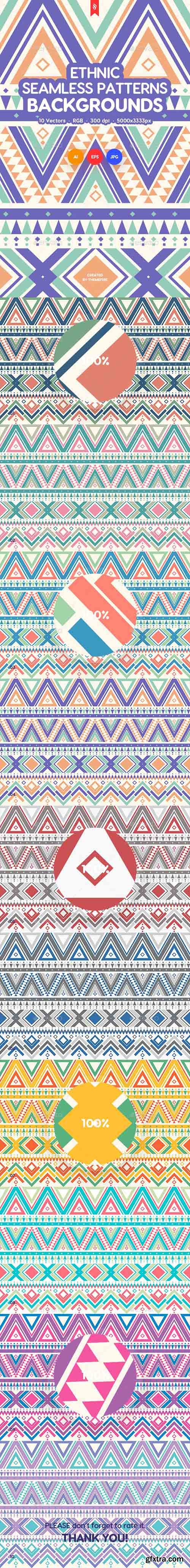 Ethnic Ornamental Seamless Patterns / Backgrounds 21871646