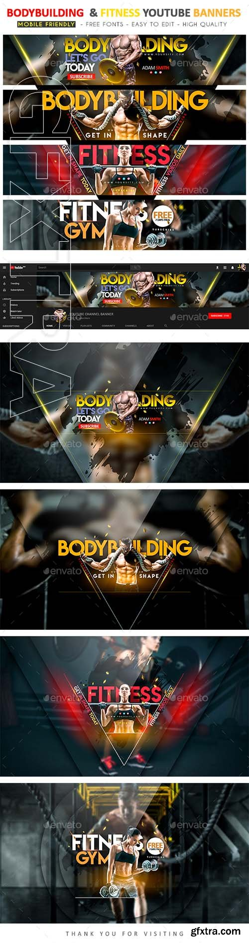 GraphicRiver - Bodybuilding & Fitness YouTube Banner 22175170