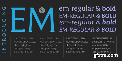 EM Font Family - 4 Fonts