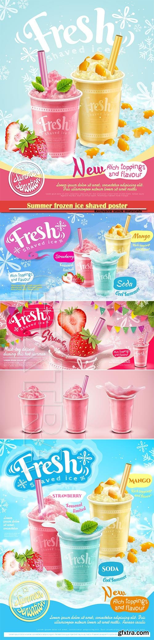 Summer frozen ice shaved poster with refreshing fruit and toppings in 3d illustration