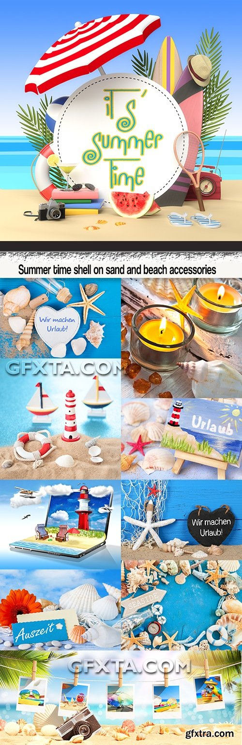 Summer time shell on sand and beach accessories