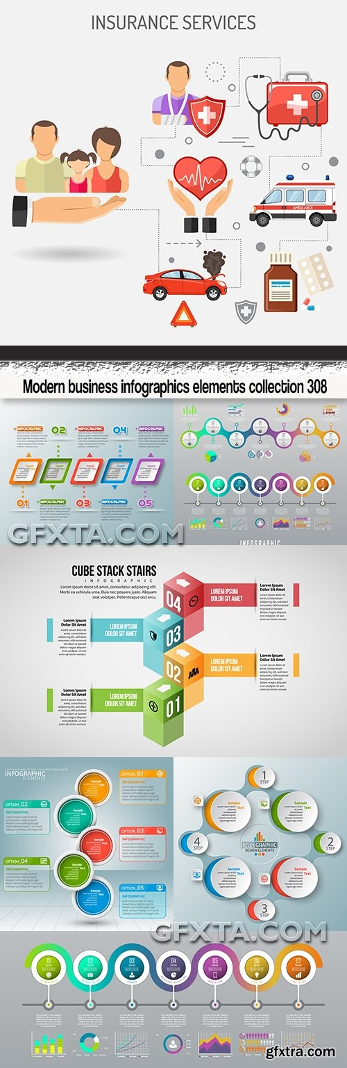 Modern business infographics elements collection 308