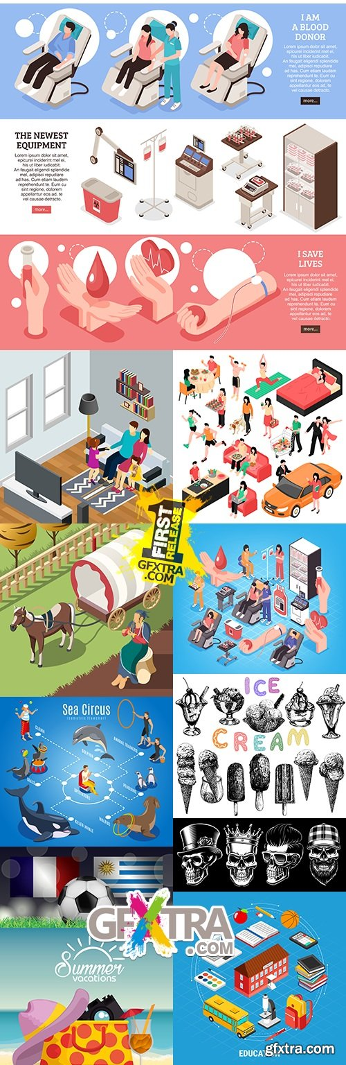 Modern big collection illustrations and elements design 38