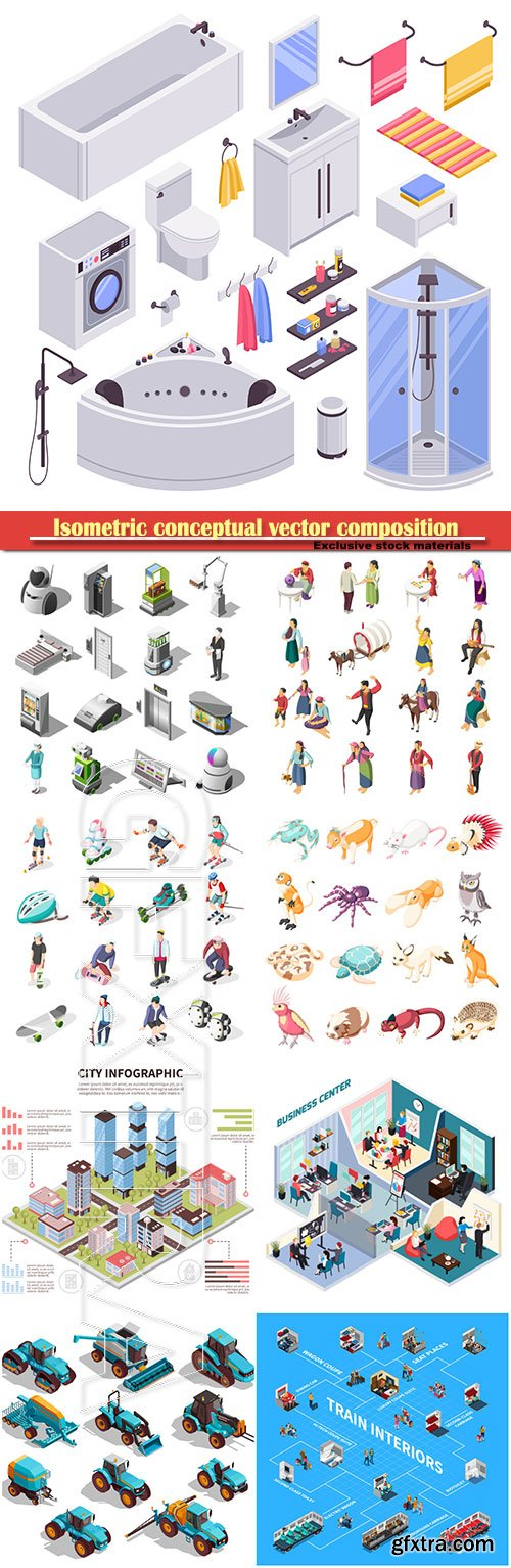 Isometric conceptual vector composition, infographics template, horizontal banners set # 12