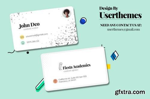 white Business Card For Content Writer Template