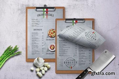 Italian Light A4 - US Letter Single Page Menu