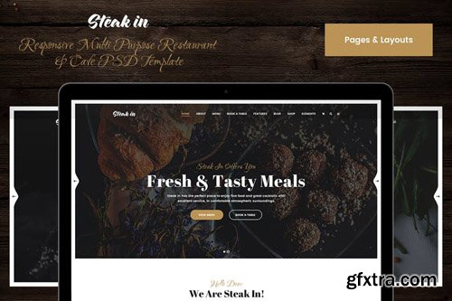 Steak In Pages & Layouts PSD Template