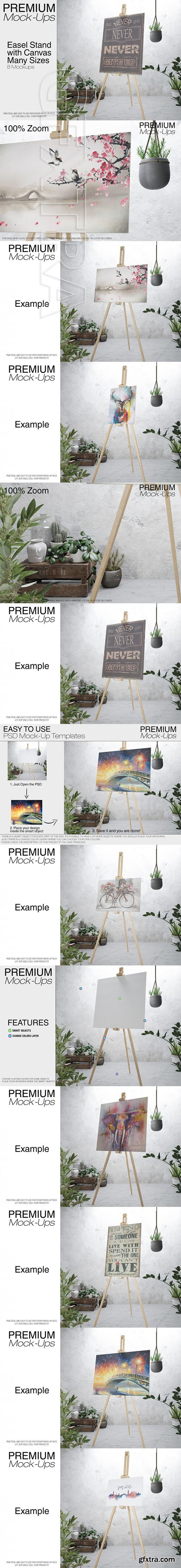 Easel with Canvas - Many Sizes