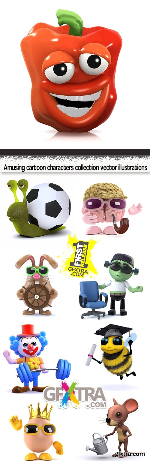 Amusing cartoon characters collection vector illustrations