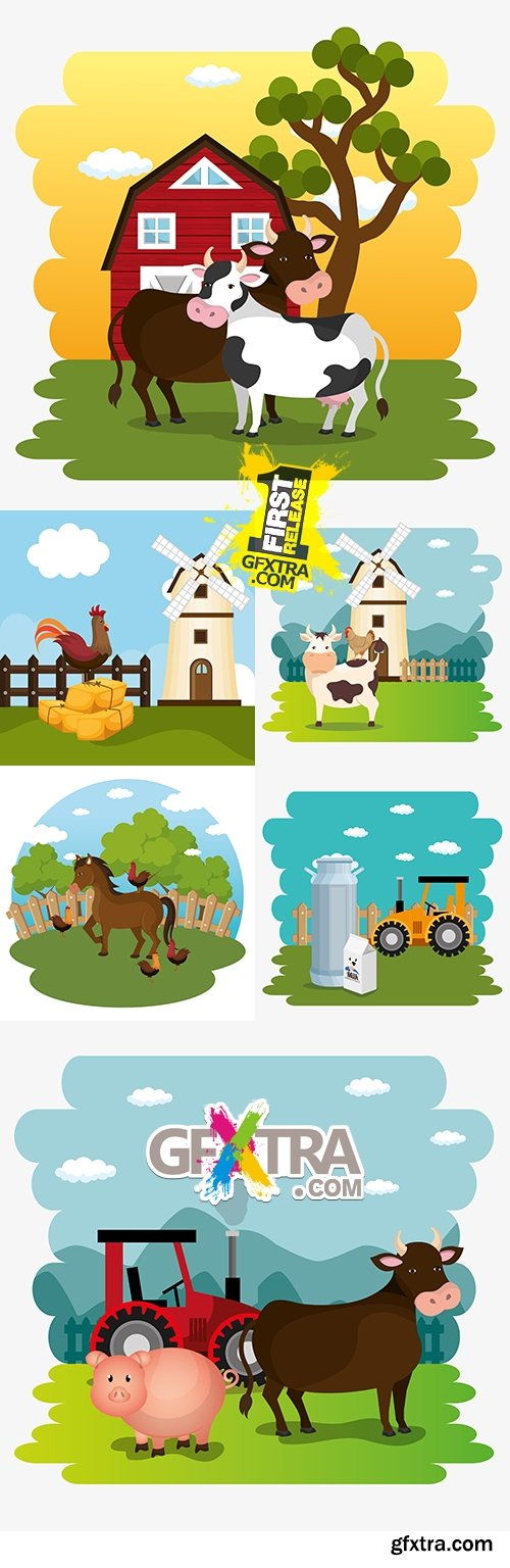 Farm summer agriculture pets and landscape nature