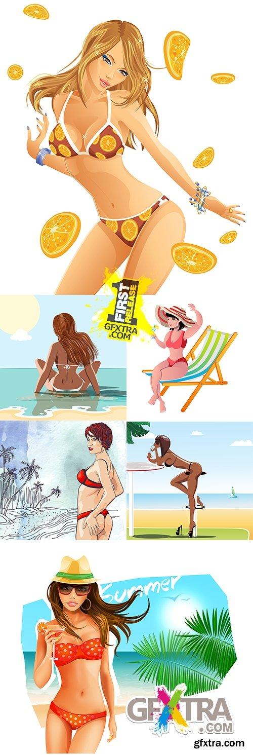 Suntanned slender girls in bikini on summer beach