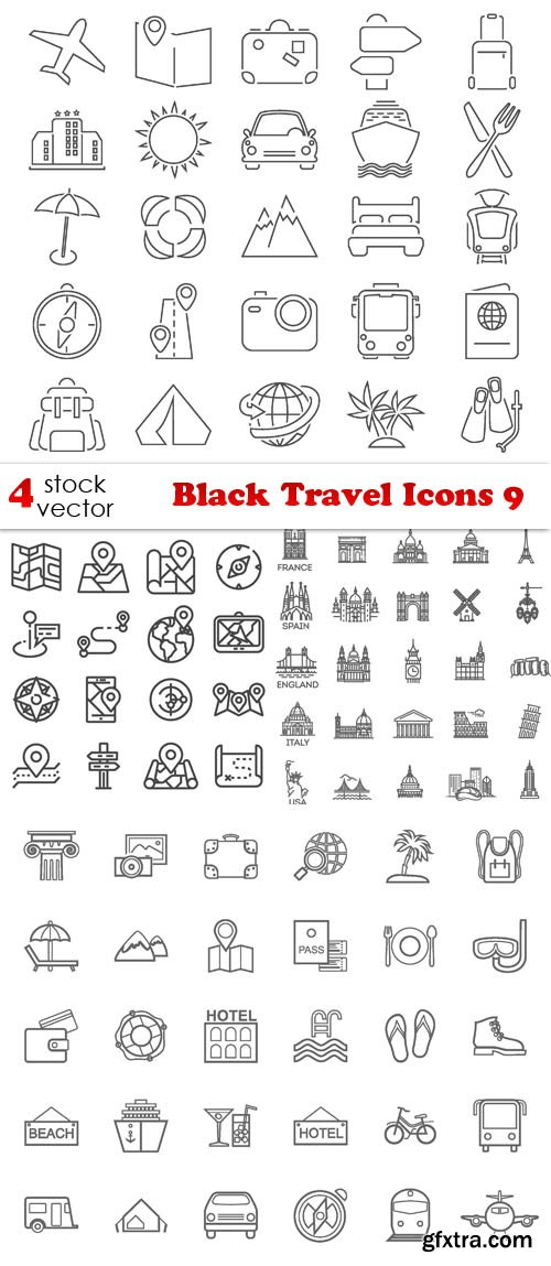 Vectors - Black Travel Icons 9