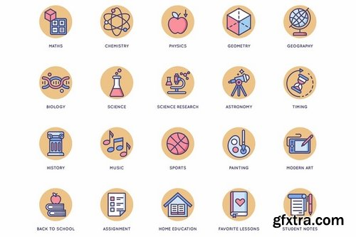 Online Education Rounded Flat Icons
