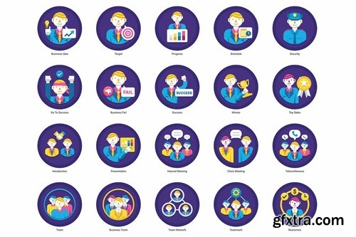 95 Business People Flat Icons