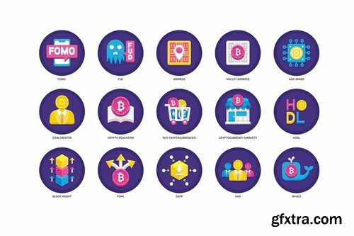 95 Cryptocurrency Flat Icons
