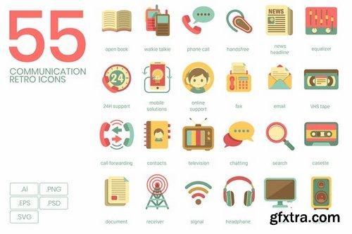 Communication Retro Flat Icons