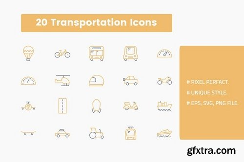 Transportation and Security  Icons Set