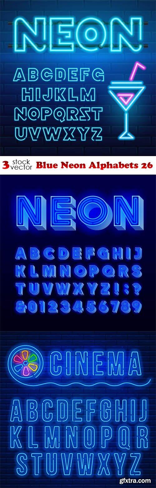 Vectors - Blue Neon Alphabets 26