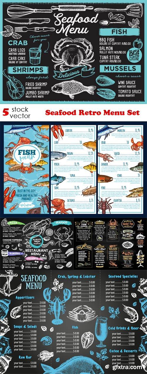 Vectors - Seafood Retro Menu Set