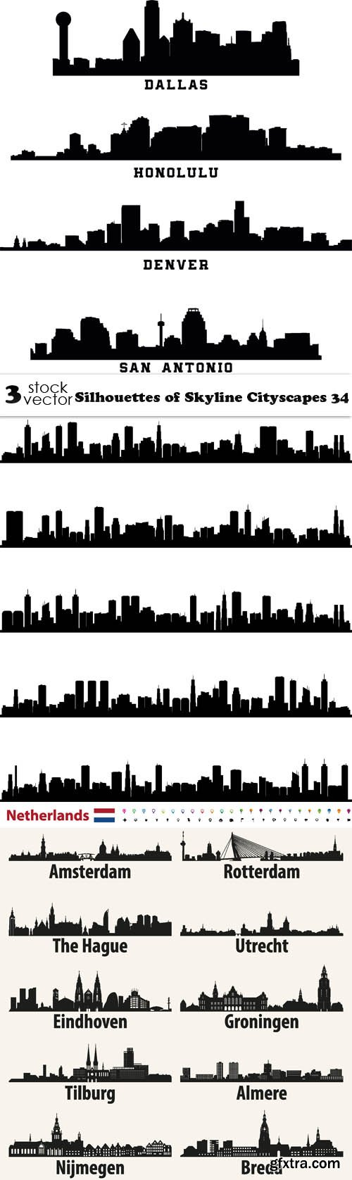 Vectors - Silhouettes of Skyline Cityscapes 34